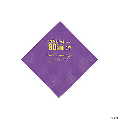 Amethyst 90th Birthday Personalized Napkins with Gold Foil - Beverage Image Thumbnail