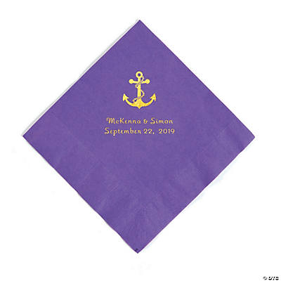 Amethyst Anchor Personalized Napkins with Gold Foil - Luncheon Image Thumbnail