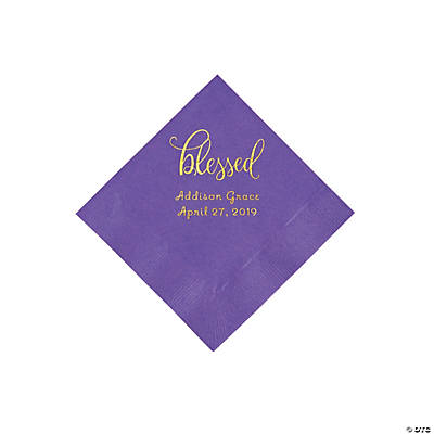 Amethyst Blessed Personalized Napkins with Gold Foil - Beverage Image Thumbnail