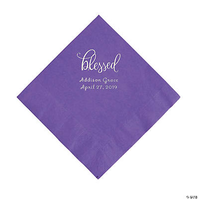 Amethyst Blessed Personalized Napkins with Silver Foil - Luncheon Image Thumbnail