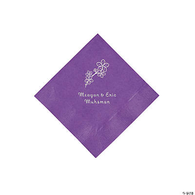 Amethyst Blossom Branch Personalized Napkins with Silver Foil - Beverage
