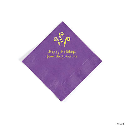 Amethyst Candy Cane Personalized Napkins with Gold Foil – Beverage Image Thumbnail
