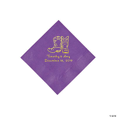 Amethyst Cowboy Boots Personalized Napkins with Gold Foil - Beverage Image Thumbnail