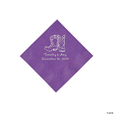 Amethyst Cowboy Boots Personalized Napkins with Silver Foil - Beverage Image Thumbnail