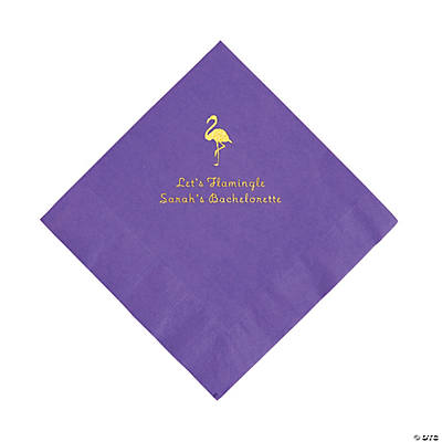 Amethyst Flamingo Personalized Napkins with Gold Foil - Luncheon