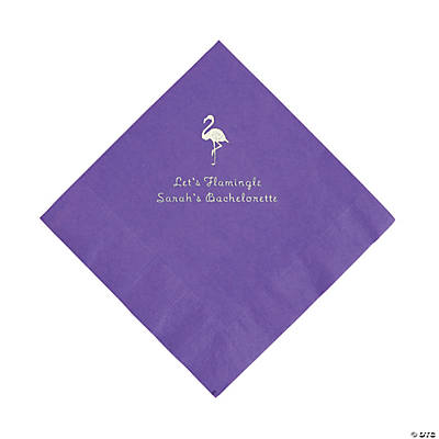 Amethyst Flamingo Personalized Napkins with Silver Foil - Luncheon
