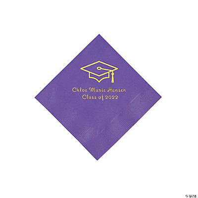 Amethyst Grad Mortarboard Personalized Napkins with GOLD Foil – Beverage Image Thumbnail