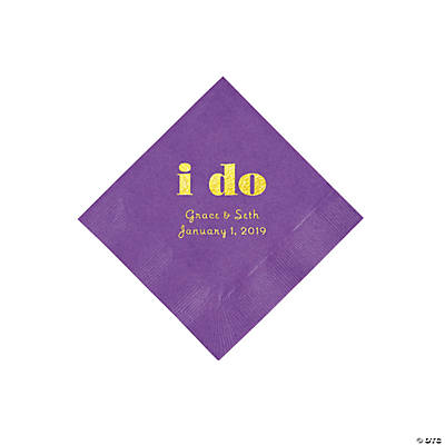 Amethyst I Do Personalized Napkins with Gold Foil - Beverage