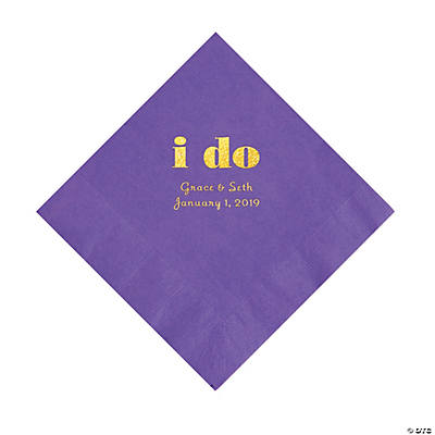 Amethyst I Do Personalized Napkins with Gold Foil - Luncheon