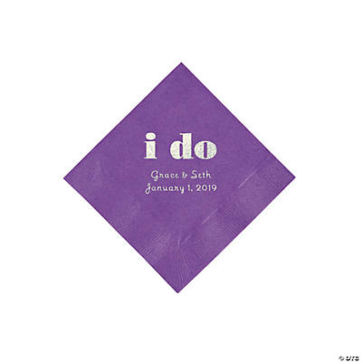 Amethyst I Do Personalized Napkins with Silver Foil - Beverage