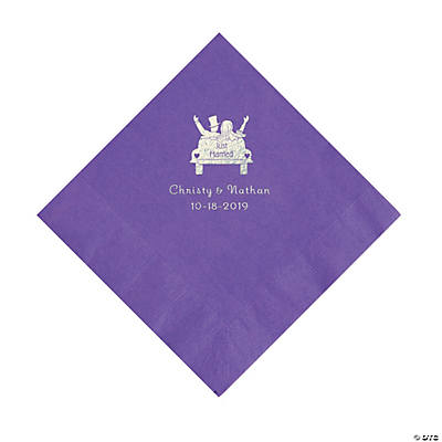Amethyst Just Married Car Personalized Napkins with Silver Foil - Luncheon Image Thumbnail