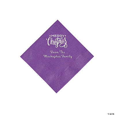 Amethyst Merry Christmas Personalized Napkins with Silver Foil - Beverage Image Thumbnail
