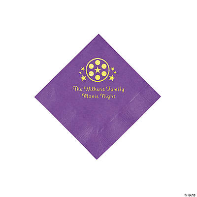 Amethyst Movie Night Personalized Napkins with Gold Foil – Beverage Image Thumbnail