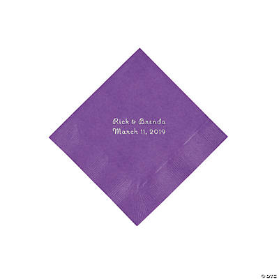 Amethyst Personalized Napkins with Silver Foil - Beverage