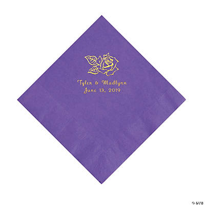 Amethyst Rose Personalized Napkins with Gold Foil - Luncheon Image Thumbnail
