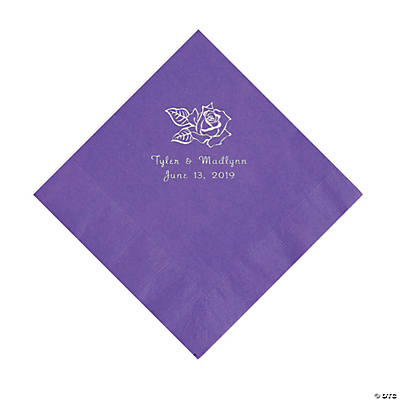 Amethyst Rose Personalized Napkins with Silver Foil - Luncheon Image Thumbnail