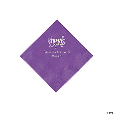 Amethyst Thank You Personalized Napkins with Silver Foil - Beverage Image Thumbnail