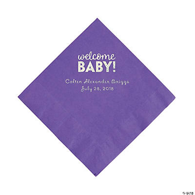 Amethyst Welcome Baby Personalized Napkins with Silver Foil – Luncheon Image Thumbnail