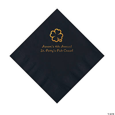 Black 4-Leaf Clover Personalized Napkins with Gold Foil - Luncheon Image Thumbnail