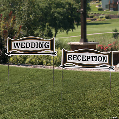 Black Gold Wedding Directional Yard Signs