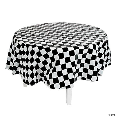 Black White Checkered Round Tablecloth