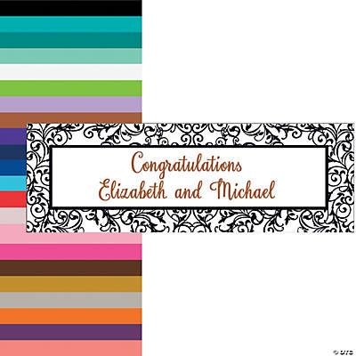 Black & White Filigree Border Wedding Custom Banner - Medium Image Thumbnail