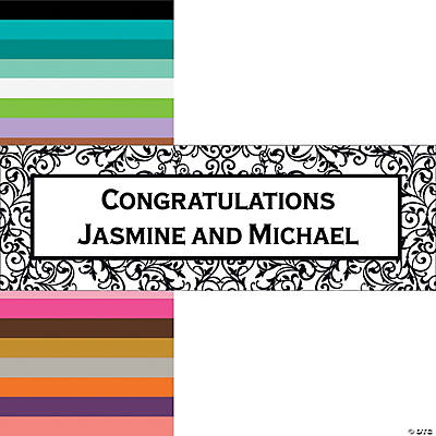 Black & White Filigree Border Wedding Custom Banner - Small Image Thumbnail