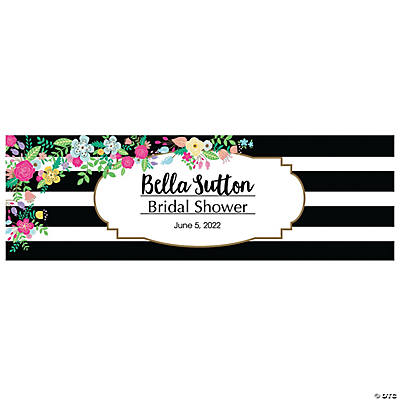 Black & White Stripe Bridal Shower Custom Banner - Medium Image Thumbnail