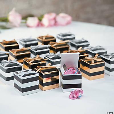 Black White Stripe Favor Boxes With Bow