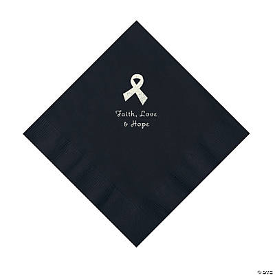 Black Awareness Ribbon Personalized Napkins with Silver Foil - Luncheon Image Thumbnail