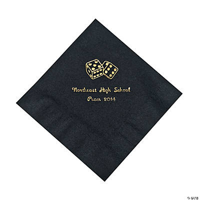 Black Casino Personalized Napkins with Gold Foil - Luncheon Image Thumbnail
