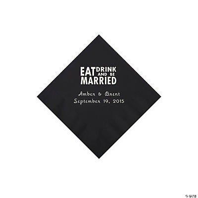 Black Eat, Drink And Be Married Napkins with Silver Foil - Beverage Image Thumbnail