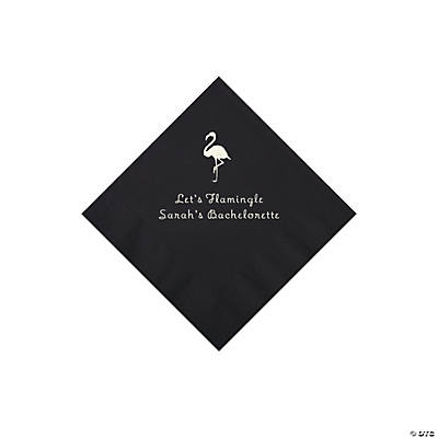 Black Flamingo Personalized Napkins with Silver Foil - Beverage Image Thumbnail