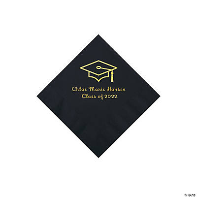 Black Grad Mortarboard Personalized Napkins with Gold Foil – Beverage Image Thumbnail