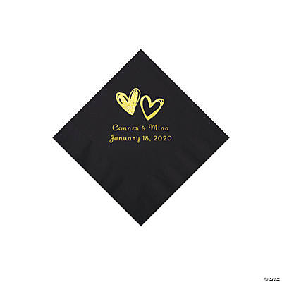 Black Hearts Personalized Napkins with Gold Foil - Beverage Image Thumbnail