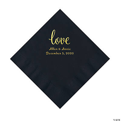 Black Love Script Personalized Napkins with Gold Foil - Luncheon Image Thumbnail
