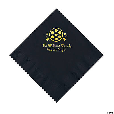 Black Movie Night Personalized Napkins with Gold Foil – Luncheon Image Thumbnail