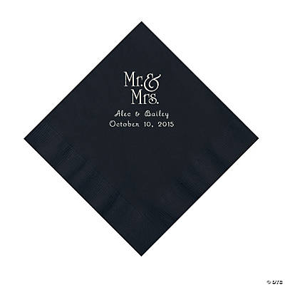 Black Mr. & Mrs. Personalized Napkins with Silver Foil - Luncheon