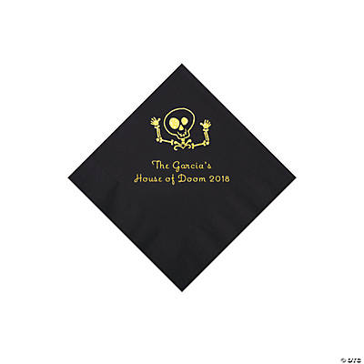 Black Skeleton Personalized Napkins with Gold Foil - Beverage Image Thumbnail
