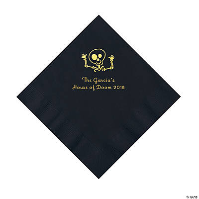 Black Skeleton Personalized Napkins with Gold Foil - Luncheon Image Thumbnail