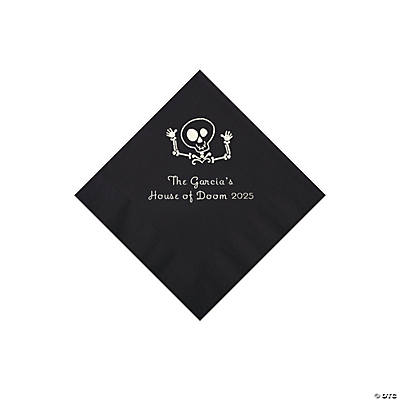 Black Skeleton Personalized Napkins with Silver Foil - Beverage Image Thumbnail