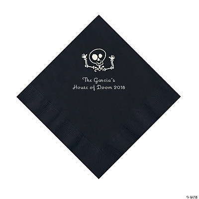 Black Skeleton Personalized Napkins with Silver Foil - Luncheon Image Thumbnail