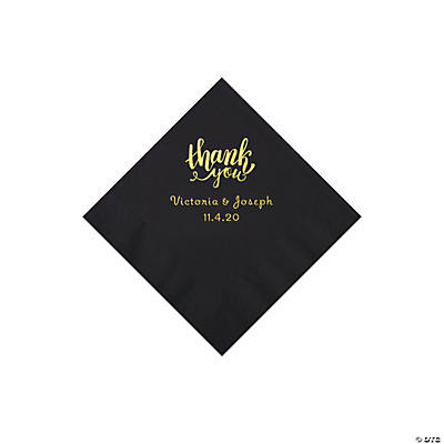 Black Thank You Personalized Napkins with Gold Foil - Beverage Image Thumbnail
