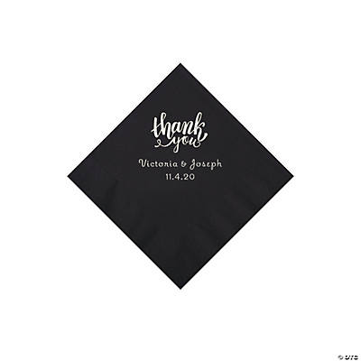 Black Thank You Personalized Napkins with Silver Foil - Beverage Image Thumbnail