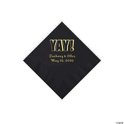 Black Yay Personalized Napkins with Gold Foil - Beverage Image Thumbnail