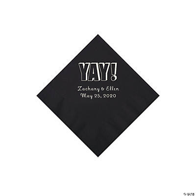 Black Yay Personalized Napkins with Silver Foil - Beverage Image Thumbnail