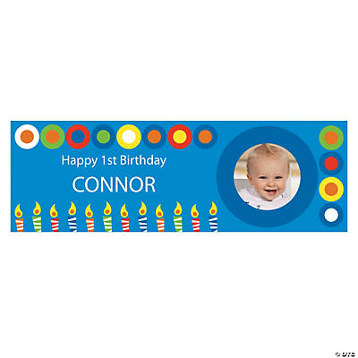 Blue & Candles Birthday Photo Custom Banner - Small Image Thumbnail