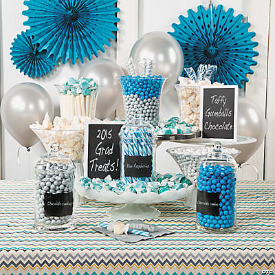 Blue White Graduation Candy Buffet Idea