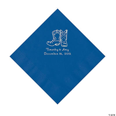 Blue Cowboy Boots Personalized Napkins with Silver Foil - Luncheon Image Thumbnail