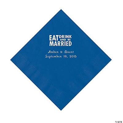 Blue Eat Drink & Be Married Personalized Napkins with Silver Foil - Luncheon Image Thumbnail
